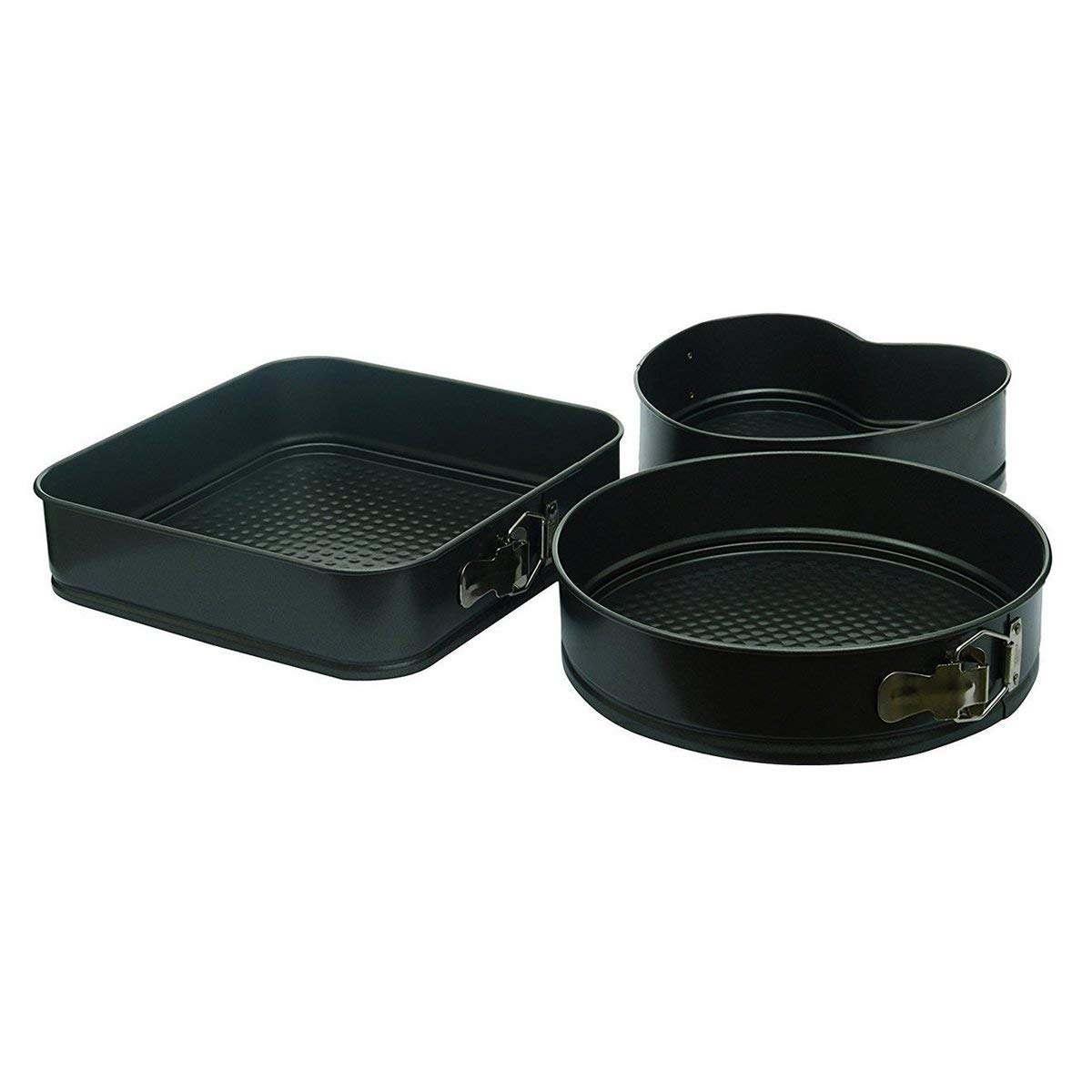 Cake Tin Set- Nonstick Coated Heart, Round and Square Shapes with Detachable Bottom