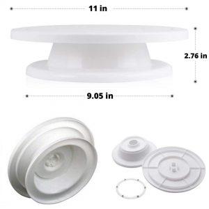 Plastic Cake Turn Table + 12 Nozzle Set + Coupler Silicone Icing Bag + Spatula + Scraper