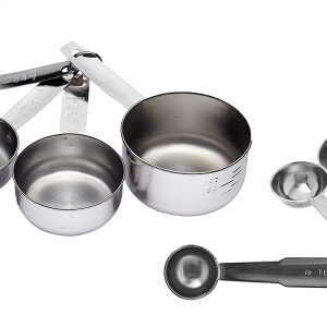 Stainless Steel Set of 4 Measuring Cup and 4 Measuring Spoon